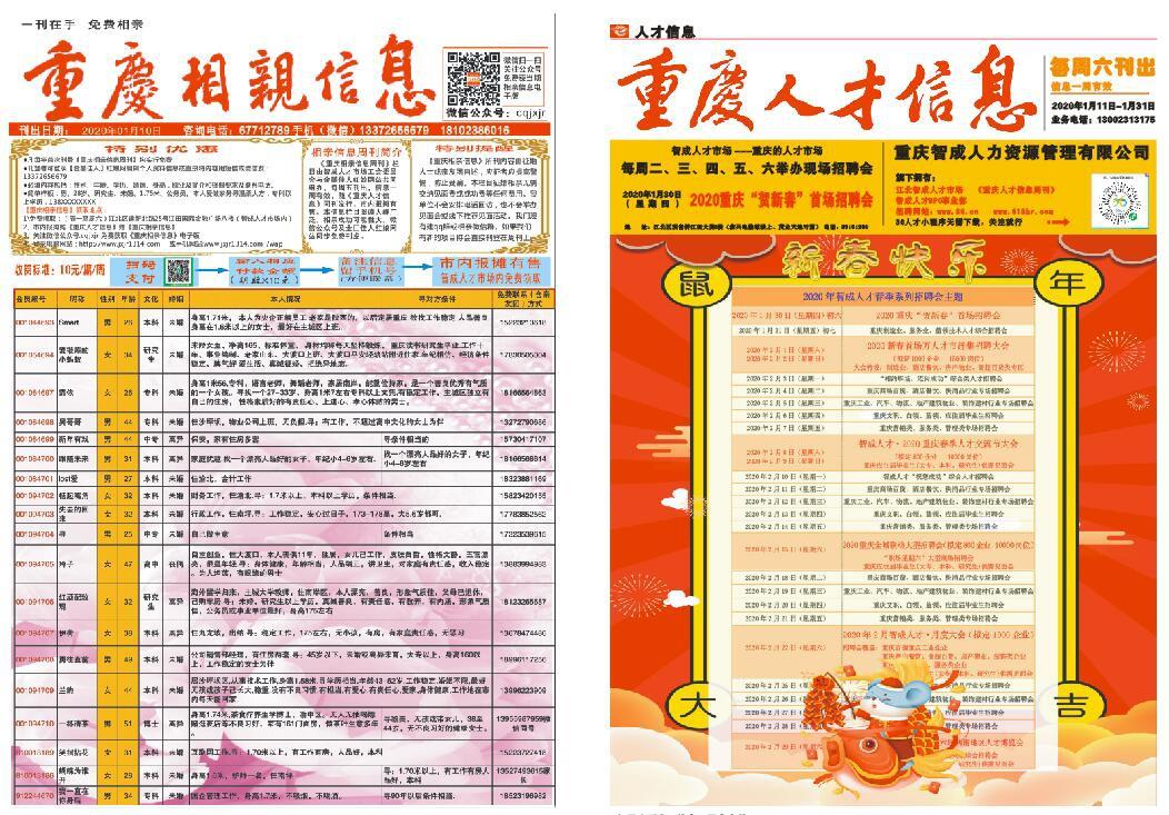 2020年春节版《重庆人才信息周刊》